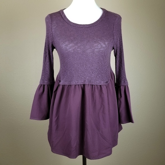 579384e85c7032 Altar'd State Tops | Altard State Purple Bohemian Bell Sleeves Top ...